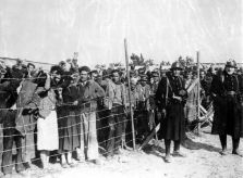Pre-World War II, 8th February 1939, Argeles-sur-Mer, France, Spanish refugee soldiers behind a barbed wire enclosure at an internment camp, after their escape into France from Catalonia (Photo by Popperfoto/Getty Images)